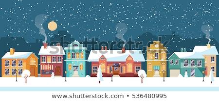 Snowy night in cozy christmas town city panorama. Snowy street with Christmas tree. Winter christmas Stock photo © MarySan