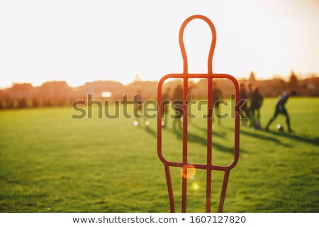 Football free kick training dummy. Sports training background. Soccer team on training practice sess Stock photo © matimix