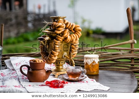 Traditional russian samovar with cups Stock photo © nomadsoul1