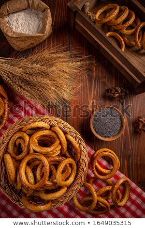 Pretzel rings in wicker basket Stock photo © grafvision