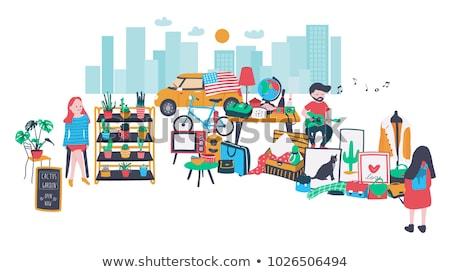 Roupa venda mercado das pulgas ilustração fundo arte Foto stock © bluering