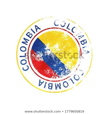 Colombia felirat klasszikus grunge lenyomat zászló Stock fotó © evgeny89