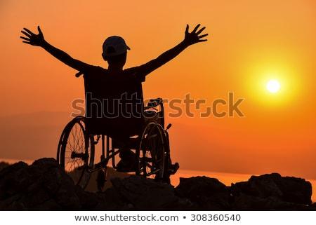 Desesperado inválido pessoa cadeira de rodas mulher casa Foto stock © Elnur