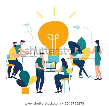 Brainstorming Team in Office with Laptop Vector Stock photo © robuart