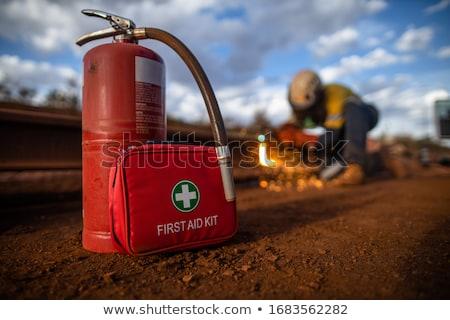 listo · trabajo · guapo · trabajador · de · la · construcción · herramientas · auténtico - foto stock © shutswis