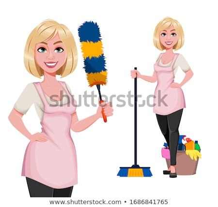 housewife with dust feather Stock photo © ivonnewierink
