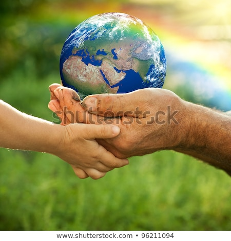 3D People with two Earth Globes in Hands Stock photo © Quka