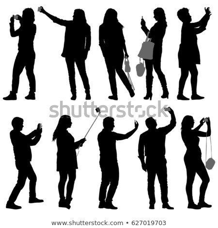 set of people silhouettes taking pictures stock photo © dece