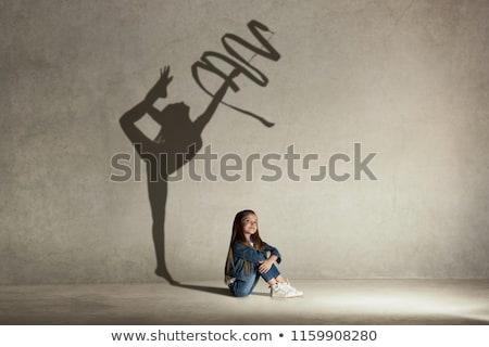álmodik lány szőke nő dől kezek fehér Stock fotó © zhekos