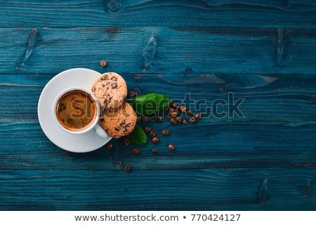 csésze · finom · feketekávé · csokoládé · sütik · közelkép - stock fotó © Kirill_M