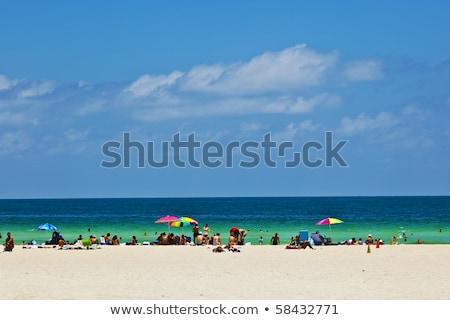 Fehér tengerpart dél Miami gyönyörű homok Stock fotó © meinzahn
