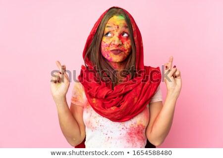 Indian jonge vrouw vingers volwassen vrouw studio Stockfoto © bmonteny