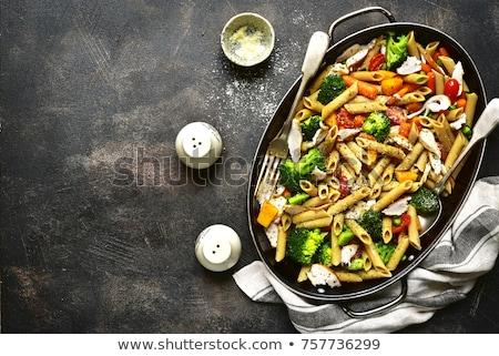 Makarna pişmiş sebze gıda yemek diyet Stok fotoğraf © M-studio