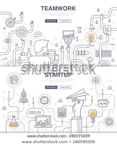 Teamwork Concept with . Doodle design style Stock photo © DavidArts