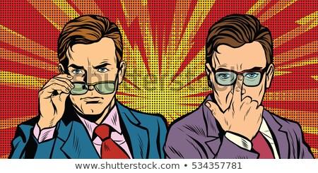 Dois homens óculos veja simplesmente retro Foto stock © studiostoks