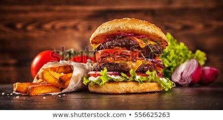 Burger presunto preto alface maionese Foto stock © artjazz