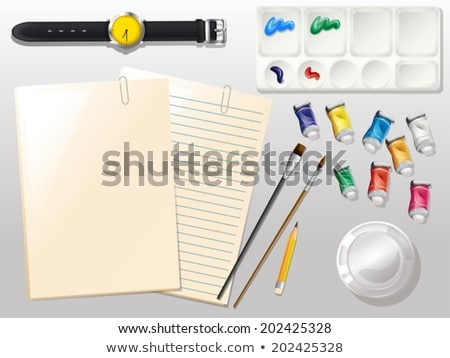 Empty papers, a watch and the different materials for painting Stock photo © bluering