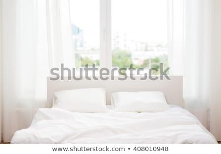 ágy lap párna otthon számítógép internet Stock fotó © wavebreak_media