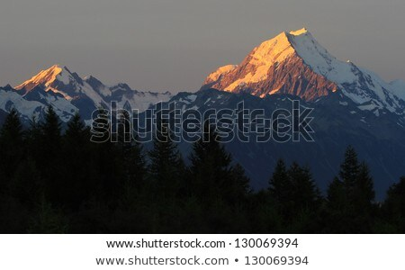 Sunset on the Summit of Mt. Cook and La Perouse in New Zealand Stock photo © cozyta