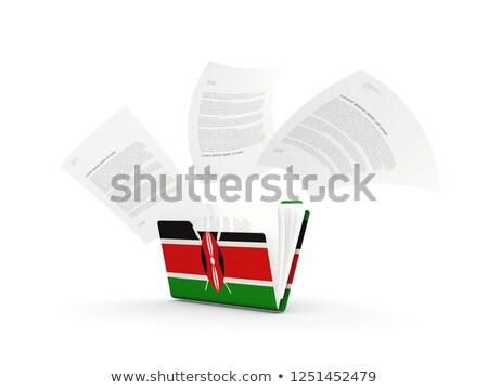 Map vlag Kenia bestanden geïsoleerd witte Stockfoto © MikhailMishchenko