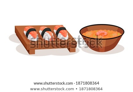 wooden table serving board with sushi vector stock photo © robuart