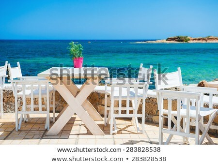 cafe with blue chairs, Crete, Greece Stock photo © neirfy