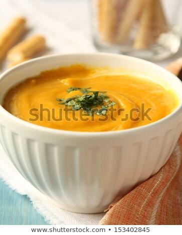 Tál házi készítésű sárgarépa leves kókusztej koriander Stock fotó © Melnyk
