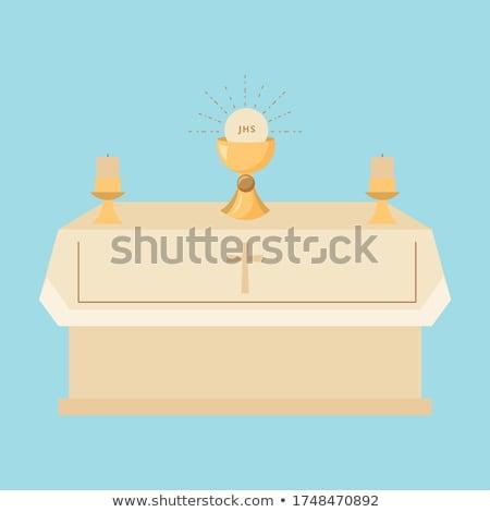 Kerk altaar donkere interieur stralen kruisbeeld Stockfoto © albund
