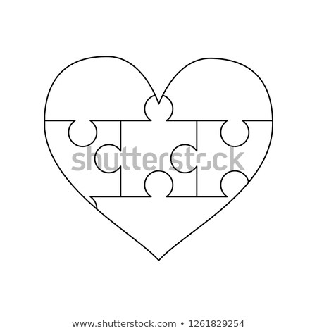 White puzzles pieces arranged in a heart shape. Simple Jigsaw Puzzle template ready for print. Cutti Stock photo © evgeny89
