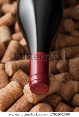 Uvas vino botellas sacacorchos mesa de madera Foto stock © karandaev