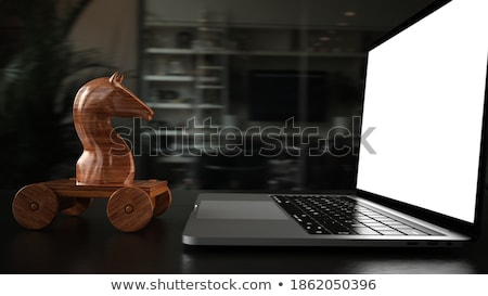 Trojański konia notebooka tabeli 3d ilustracji Zdjęcia stock © limbi007