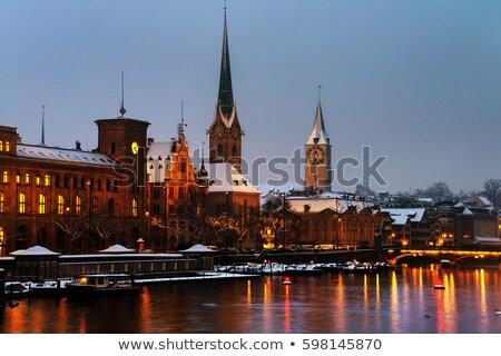 A winter night in Zurich Stock photo © elxeneize