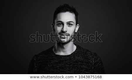homme · noir · veste · posant · gris · mode - photo stock © feedough
