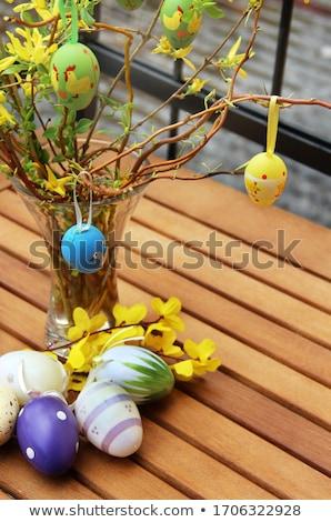 Mix of beautiful handmade Easter colored eggs  Stock photo © tannjuska