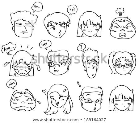 Karikatur grinsend Mund Sprechblase Hand Design Stock foto © lineartestpilot