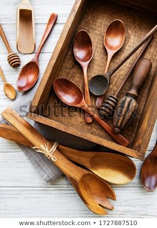 Assorted set of wooden kitchen utensils Stock photo © ozgur