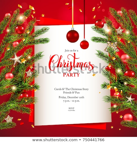merry christmas in christmas balls in red frame, greeting card Stock photo © marinini