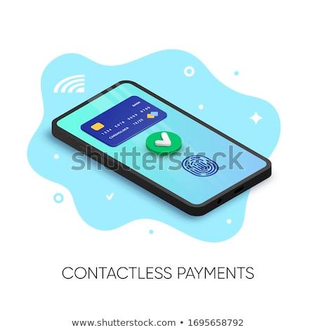 Creditcards groene vector icon ontwerp digitale Stockfoto © rizwanali3d