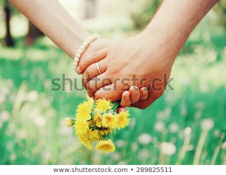 Férfi nő tart pitypang pár karok Stock fotó © O_Lypa