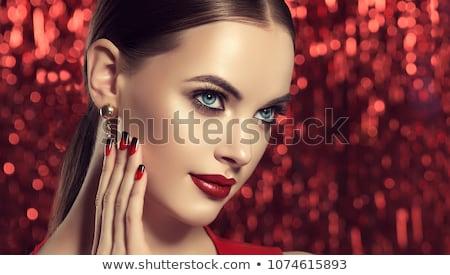 cseresznye · ajkak · közelkép · érzéki · lány · játszik - stock fotó © simply