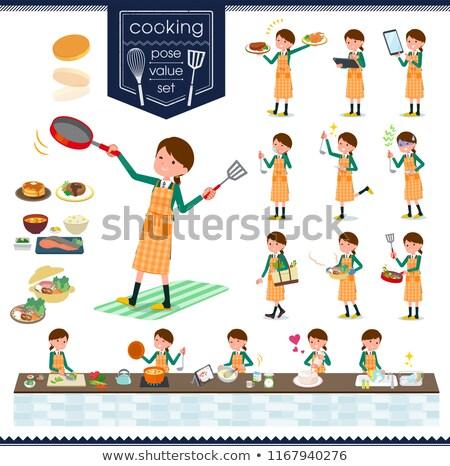 Uczennica zielone gotowania zestaw różny Zdjęcia stock © toyotoyo