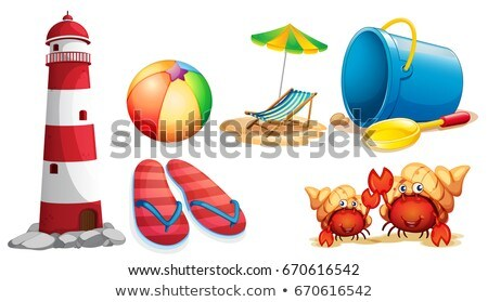 lighthouse and different kinds of beach items stock photo © colematt
