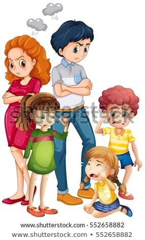 Rodziny zdenerwowany dziewczyna dziecko tle sztuki Zdjęcia stock © colematt