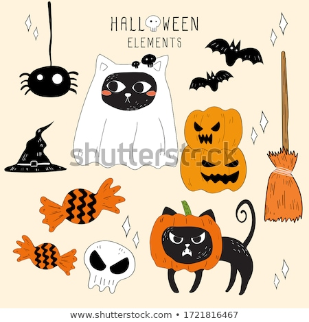 boldog · halloween · szellem · denevér · ikon · macska - stock fotó © netkov1