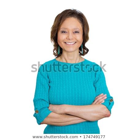 Happy joyful senior lady isolated on white background Stock photo © Lopolo