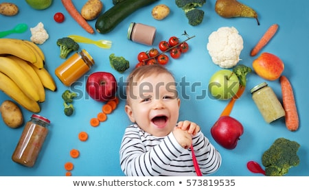jar with fruit puree or baby food Stock photo © dolgachov