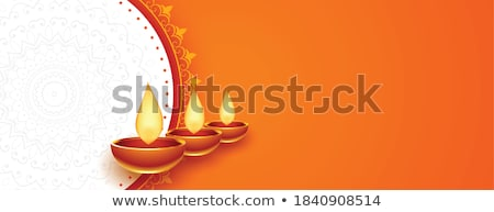 auspicious happy diwali festival banner with diya Stock photo © SArts