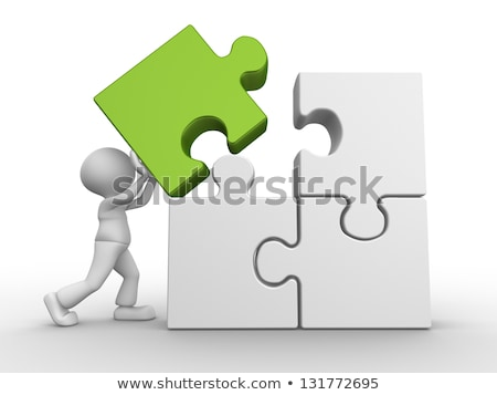 White Human Figures Joining The Green Jigsaw Pieces Stock photo © AndreyPopov