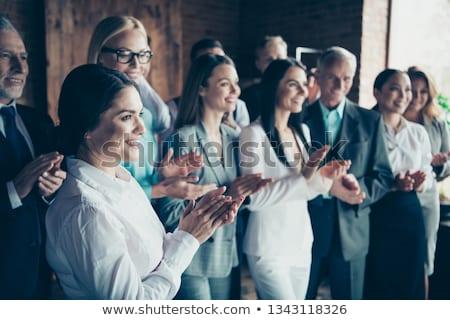 Vista lateral feliz diverso pessoas de negócios em pé Foto stock © wavebreak_media