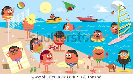 Scene with people hanging out on the beach Stock photo © bluering